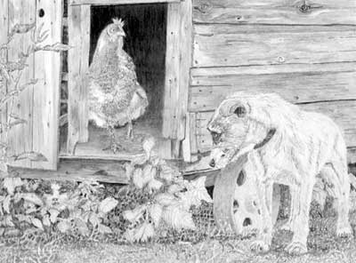 Roger's Parson Russell Terrier and Hen graphite pencil drawing